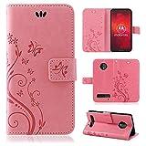 betterfon | Flower Hülle Handytasche Schutzhülle Blumen Klapptasche Handyhülle Handy Schale für Motorola Moto Z3 Play Rosa