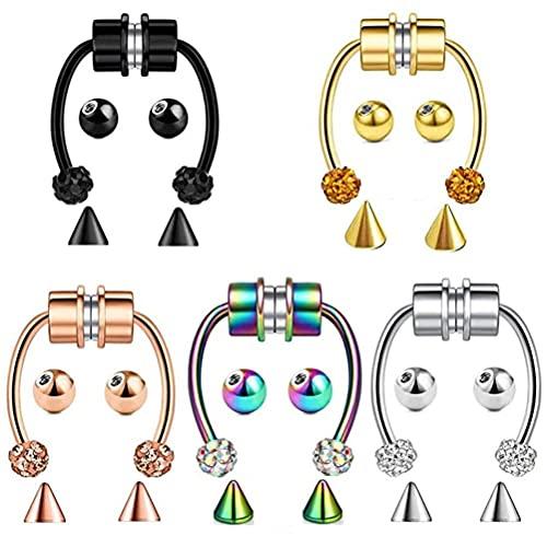 5 piercings de acero inoxidable para la nariz con imán, de acero inoxidable, fáciles de usar como clip para los pendientes.