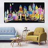 Cartel de construcción de ciudad abstracta impresión de pared arte lienzo pintura de gran tamaño imagen personalizada para la decoración del hogar de la sala de estar 50x100 CM (sin marco)