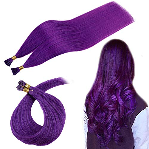 Runature I Tip Extensions Echthaar 22 Zoll Farbe Farbe Lila 25G 25 Strang Stick Tip Prebonded Extensions