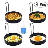 FADANY Anelli per Uova, Kitchen Craft Set in Acciaio Inossidabile, 4 Antiaderente Muffa An...
