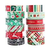Navidad Washi tape set 12 Cintas adhesivas Rainbow Kawaii Decorativo de Masking Tape Washi Tape Decorativas de Colores Washi Cinta de Enmascarar para DIY manualidades álbumes de recortes y regalos
