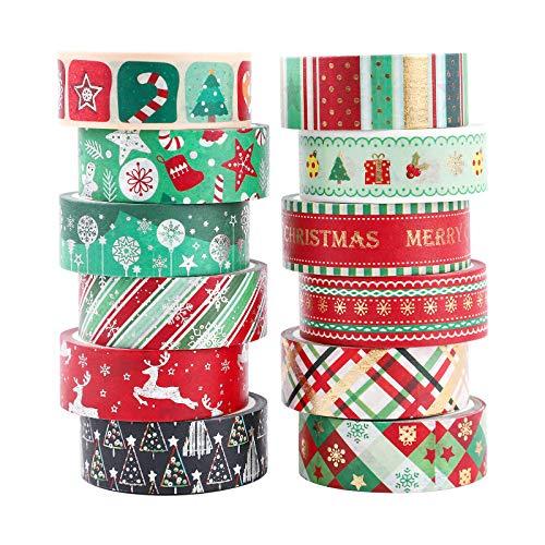 Washi Tape Noël 12 rouleaux Washi Masking Tape Adhésif Ruban adhésif décoratifs Papier Tape pour bullet journal Scrapbooking Artisanat de bricolage Fournitures de fête de bureau emballage de cadeaux