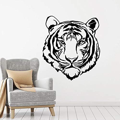 Calcomanía de pared de cabeza de tigre depredador Animal agresivo Tribal pegatinas de ventana Mural dormitorio hombre cueva Bar decoración interior A9 42x47cm