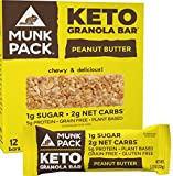 Munk Pack: Keto Granola Bar - Peanut Butter - 1g Sugar, 2g Net Carbs - 12 Pack - Gluten-Free Keto Snacks - Plant Based Paleo and Keto-Friendly - No Grain, Soy or Added Sugar - Delicious