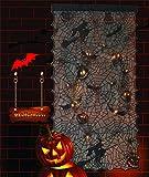 Alpurple Halloween LED Light Up Pumpkin Bat Lace Curtain- 42' x 84' LED Black Window Door Background Curtain with Light Horror Pumpkin , Spider Decorative for Halloween Party Decorations