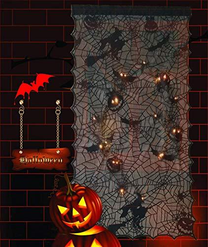 "Alpurple Halloween LED Light Up Pumpkin Bat Lace Curtain- 42"" x 84"" LED Black Window Door Background Curtain with Light Horror Pumpkin, Spider Decorative for Halloween Party Decorations"