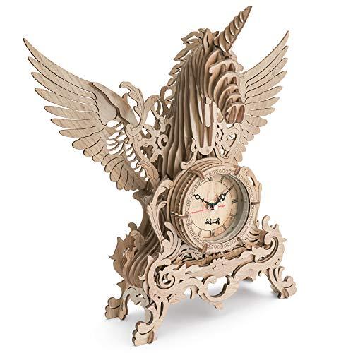 3D Reloj de Rompecabezas, Kits de Modelos con Corte láser, Modelos Construcción Unicornio 3D Puzzle Kit para Adultos y Adolescentes