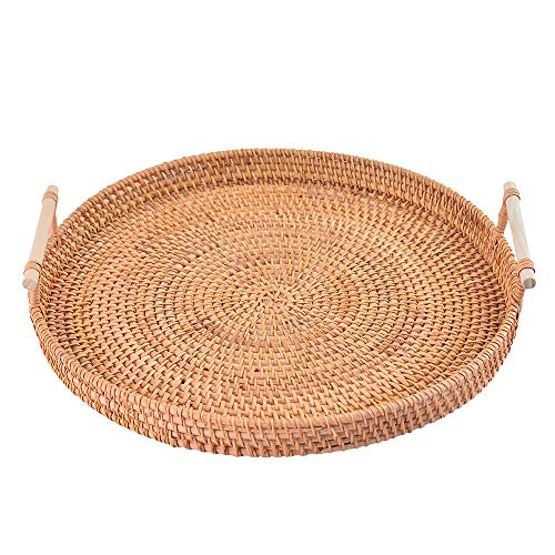Handcraft Rattan Woven Round Serving Tray for Bread Fruit Snack Platter Storage Basket(Medium, 11 inches,28cm)