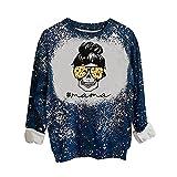 Wave166 Sudadera para mujer vintage con estampado gráfico, camiseta moderna, informal, ropa de calle, suéter de gran tamaño, ropa deportiva, plata, S