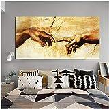 IGZAKER Erschaffung Adams!Gottes Hand!Leinwand Malerei Religion Berühmte Kunst Ölgemälde Wandbilder Für Wohnzimmer, kein Rahmen, 50x100 cm