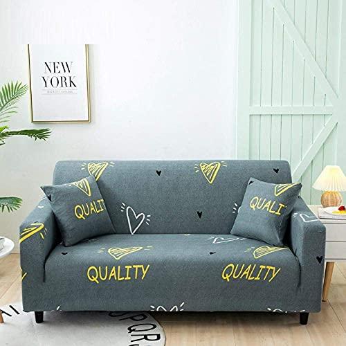 WLVG Fundas para sofá de 1 2 3 4 plazas, color gris en forma de corazón, funda elástica para sofá sofá cama cama mascota gato 235-300 cm