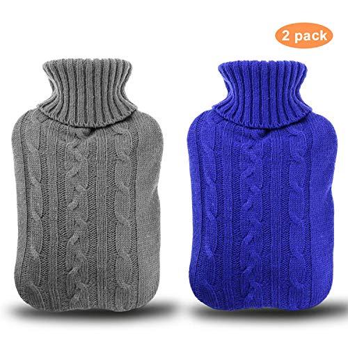Borsa dell'acqua Calda 2 pezzi, Gifort 2L borsa dell' acqua calda con rivestimento rimovibile e lavabile a maglia maglia copertura della bottiglia rapido sollievo dal dolore e comfort (Blu e grigio)