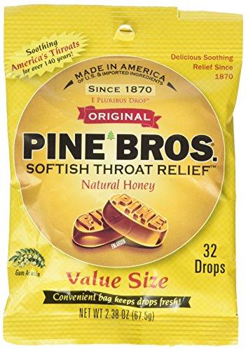 Pine Bros Softish Throat Drops, Natural Honey, 32 Count