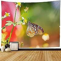 タペストリー壁掛け翼蝶サンシャインプリティフラワーモーニングアニマルブラックオレンジ昆虫植物自然テクスチャ新築祝いギフト180x200cm