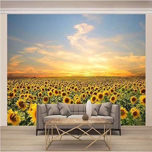 Papel Pintado Mural Girasol 350x250cm/138x98.5in(Wxh) Papel Tapiz Fotográfico Murales Grandes Sofá Dormitorio Moderno Pintura Mural Decoración Para El Hogar