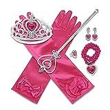 YQF Juego de 8 disfraces de princesa Elsa, guantes de fiesta, corona, varita mágica, collar, pendientes y anillo. Accesorios para cumpleaños infantiles, 2 – 9 años (rojo rosa)