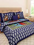 Color: Blue; Size: Double Bedsheet Material: Cotton; Thread Count: 300 Sales Package: 1 bedsheet & 2 pillow covers Dimensions: Double Bedsheet - 90 inches X 84 inches, Pillow Cover - 17 inches X 27 inches Adds a rich, pleasing and an ethnic feel to c...
