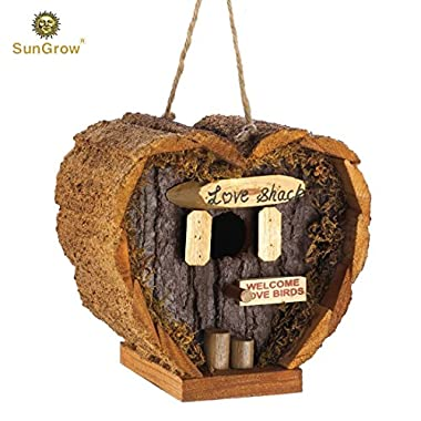Heart Shaped Birdhouse - Decorative Rough Wood - Little Log Cabin Birdhouse - Perfect Gift for Newlyweds, Engagement, Housewarming, Honeymoon - Love Shack for Love Birds - Wooden Bird Feeder