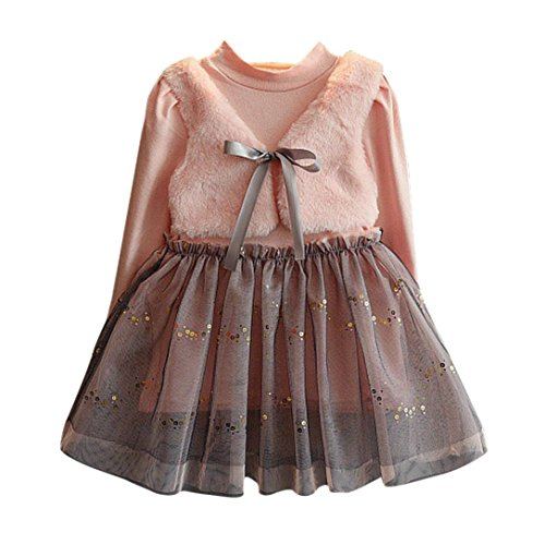 Hirolan Mode Kleinkind Kinder Lange Hülse Bowknot Pullovers Patchwork Prinzessin Kleid Baby Mädchen Winter Baumwolle Kleider (90cm, Rosa)
