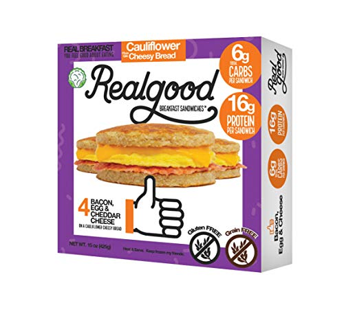 Real Good Foods, Keto-friendly, Low Carb - High Protein - Gluten Free - Bacon, Egg & Cheese Breakfast Sandwiches (20 per case)