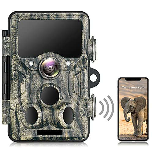 WiFi Bluetooth Wildlife Camera with Night Vision, 1296P 20MP Trail Camera with 940nm No Glow IR LEDs, Motion Activated Garden Camera IP66 Waterproof for Wildlife Monitoring, Home Security