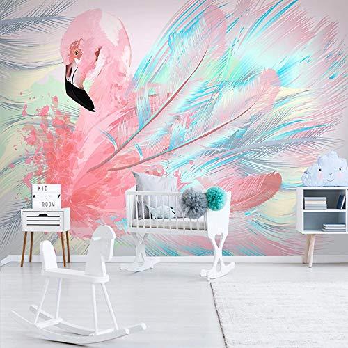 BHXIAOBAOZI eigen 4D muurschildering groot behang, abstract roze veren en flamingo, moderne Hd zijde muurschildering poster afbeelding TV sofa achtergrond muur decoratie voor woonkamer 250cm(W)×160cm(H)|8.2×5.24 ft