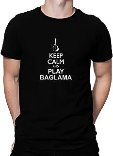 Teeburon Keep Calm and Play Baglama Silhouette Camiseta
