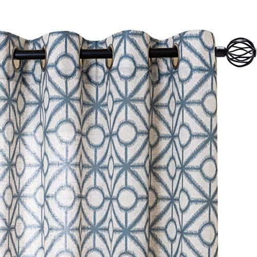 jinchan Linen Textured Curtains for Living Room Grommets Top Durable Linen Flax Burlap Geometric Tile Print Design Privacy Window Treatment Set for Bedroom 2 Panels 84 Inches Long Blue