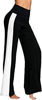 Qootent Women Wide Leg Pants High Waist Contrast Color Loose Casual Trousers
