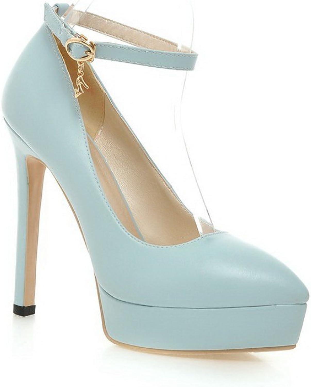 1TO9 Womens Studded Rhinestones Metal Buckles Metal Ornament bluee Polyurethane Pumps-shoes - 5 B(M) US