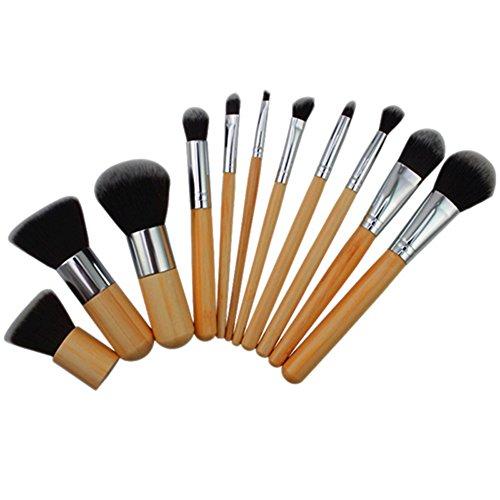 Manette Poignée en bois maquillage cosmétique de fard à paupières Fond de teint Concealer Brush Set Pinceaux