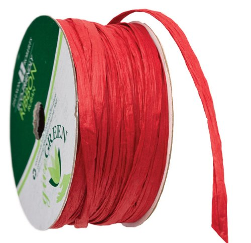 Jillson Roberts 6-Spool Count 1/4' x 50' Recycled Paper Raffia Available in 16 Colors, Red