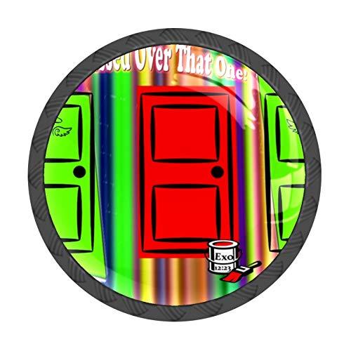 FCZ 4 pomos coloridos para cajón de Pascua, con forma de círculo, de cristal, con tornillos, para el hogar, la cocina, la oficina