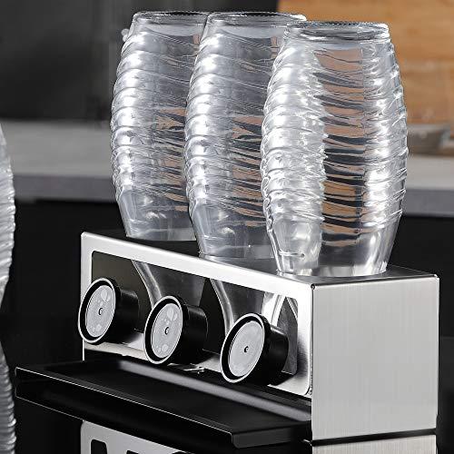 YIGII Flaschenhalter für SodaStream - Premium Sodaclean Abtropfhalter aus Edelstahl Abtropfständer mit Abtropfwanne für 3 SodaStream Crystal | Emil Flaschen