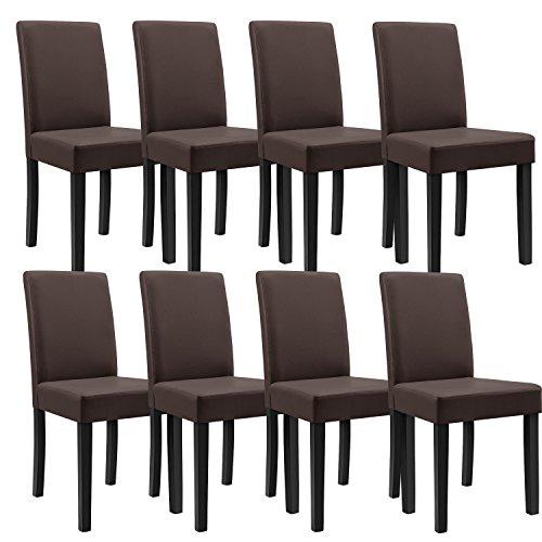 [en.casa] 8 sedie Imbottite (Marrone - Opaco) (Ottima qualità) con Piedi in Legno massello/Rivestimento in Similpelle/Elegante /