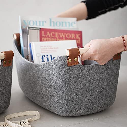 Cesta de fieltro con mango de madera, plegable, duradera, para revistas, libros, CD, juguetes, revistas, 35 x 23 x 20 cm