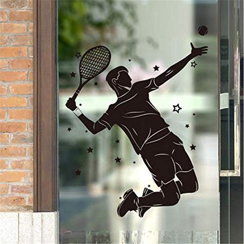 Lglays Vinilo decorativo para pared de jugador de tenis masculino para sala de estar, habitación de niños, gimnasio, decoración de 67 x 90 cm