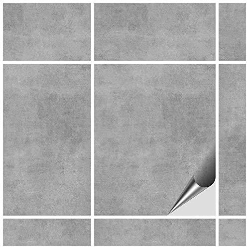 FoLIESEN Fliesenaufkleber 20x25 cm - Fliesen-Folie Bad - Klebefolie Küche - 8 Klebefliesen, Dekor Greydi