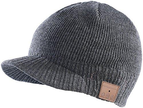Callstel Kappe: Beanie-Schildmütze inkl. integriertem Headset mit Bluetooth, grau (Wintermütze)
