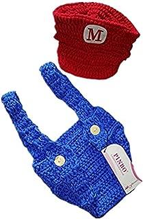 Newborn Baby Photography Prop Crochet Games Mario Hat Overalls
