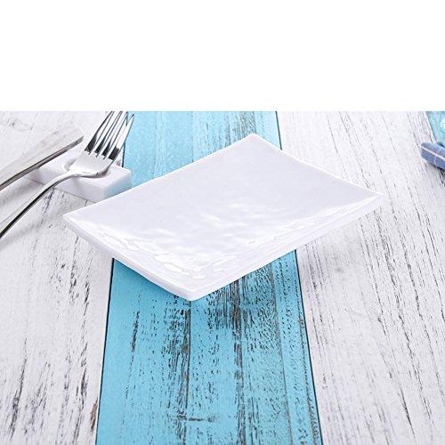 Dinner Plate,Plaque D'accentuation,Assiette D'apéritif,Dessert Plate,Salad Plate,Mélamine Rectangulaire Blanc Disques Résistants à La Chaleur
