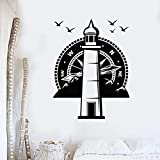 Faro Watchtower Brújula Etiqueta de la pared Mar Playa Montaña Estilo Aves Gaviota Vinilo Ventana Calcomanía Sala de estar Decoración del hogar Arte mural póster