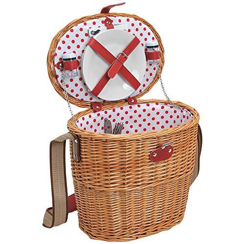 matches21 HOME & HOBBY Dames picknickmand voor 2 personen Rieten mand ovaal bruin/wit rood 14 stuks inclusief herbruikbaar servies
