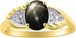 Anillo de diamantes y estrella negra con zafiro en oro amarillo de 14 quilates con diseño de alas de diamante