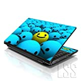 LSS (17-17,3 Zoll) Notebook Laptop Skin Aufkleber für 16,5 cm, 17 Zoll, 17,3 Zoll, 18,4, 19 Zoll, Apple, Asus, Acer, HP, Dell, Lenovo, Asus, Compaq, inkl. 2 Wrist Pad Happy Face