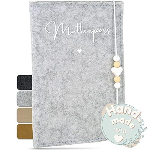 MAHEWA® Premium Mutterpass-Hülle aus Filz-Stoff   Mutterpass-Organizer Mutterpass-Tasche Schutzhülle   Umschlag Etui Mappe Mutterschaftspass   Einband Mutterpass