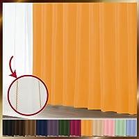 窓美人 1級遮光カーテン&UV・遮像レースカーテン 各1枚 幅150×丈135(133)cm マリーゴールド+マリーゴールド 断熱 遮熱 防音 紫外線カット