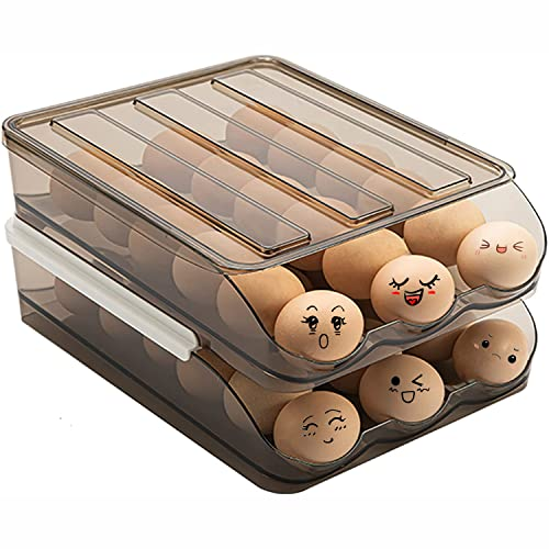 Egg Holder for Refrigerator Auto Scrolling Down 36 large-capacity double-layer storage boxes kitchen cabinets Clear Plastic Eggs Food Container with Lid