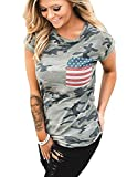 POPTEM Womens Casual American Flag T Shirt 4th of July Short Sleeve Tee USA Patriotic Summer Blouse Tops Gray